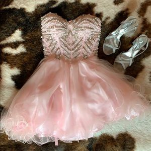 Pink formal mini dress